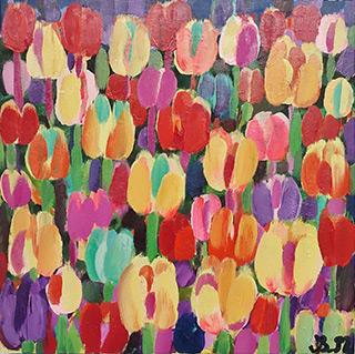 Beata Murawska : Tulips on the moon : Oil on Canvas