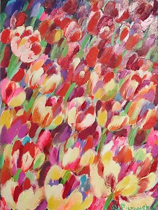 Beata Murawska : Wind over the tulip field : Oil on Canvas