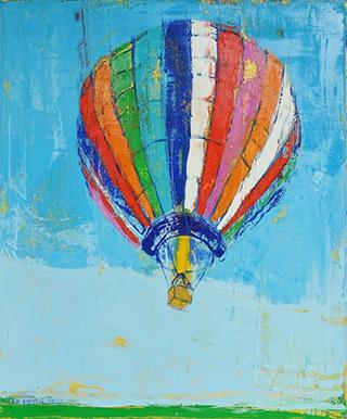 Jacek Łydżba : Balloon takeoff : Oil on Canvas