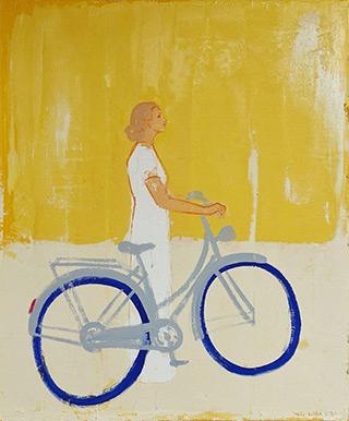 Jacek Łydżba : Cyclist in profile : Oil on Canvas