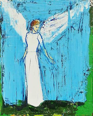 Jacek Łydżba : Angel White on blue : Oil on Canvas