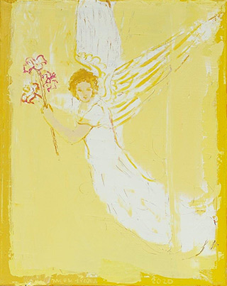 Jacek Łydżba : Angel with a lily : Oil on Canvas