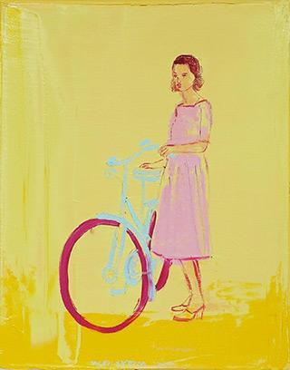 Jacek Łydżba : Cyclist in a pink dress : Oil on Canvas