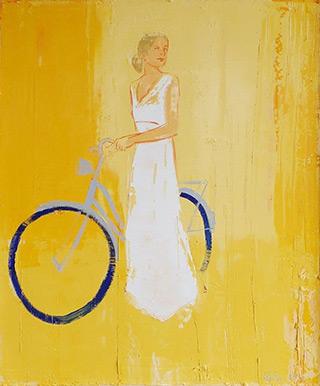 Jacek Łydżba : Cyclist in a white dress : Oil on Canvas