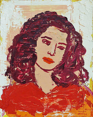 Jacek Łydżba : Girl in the red shirt : Oil on Canvas