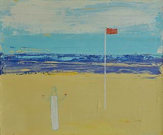 Jacek Łydżba - Landscape with a red flag