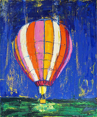 Jacek Łydżba : Night balloon flight : Oil on Canvas