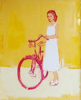 Jacek Łydżba : Red-haired cyclist : Oil on Canvas
