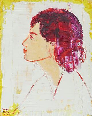 Jacek Łydżba : Woman in profile : Oil on Canvas