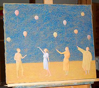 Mikołaj Kasprzyk : Little balloons : Oil on Canvas