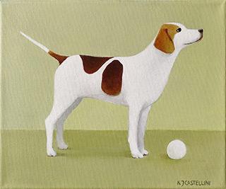 Katarzyna Castellini : Dog with a ball : Oil on Canvas