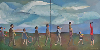 Katarzyna Karpowicz : Circus parade from a small town : Oil on Canvas