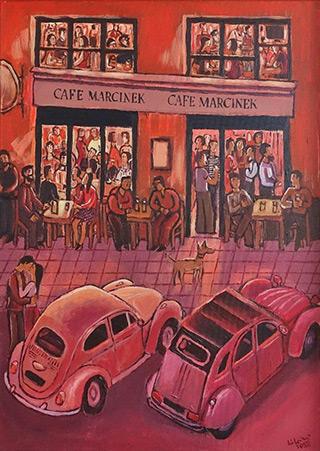 Krzysztof Kokoryn : Cafe Marcinek : Oil on Canvas
