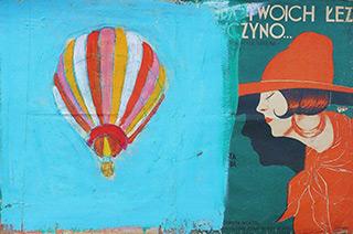 Jacek Łydżba : Balloon and girl tears : Tempera on old music sheet
