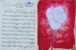 Jacek Łydżba : Elegy : Tempera on old music sheet