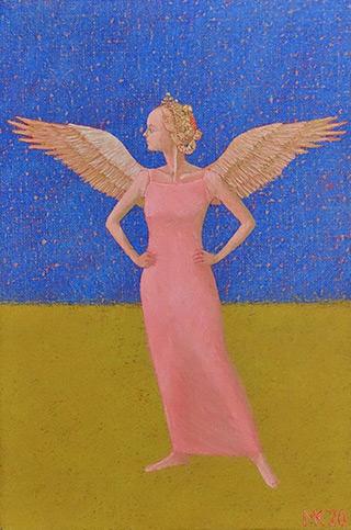 Mikołaj Kasprzyk : Angel on a blue background : Oil on Canvas