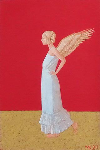 Mikołaj Kasprzyk : Angel on a red background : Oil on Canvas