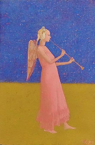 Mikołaj Kasprzyk : Angel with a trumpet : Oil on Canvas