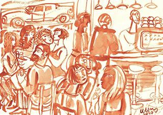 Krzysztof Kokoryn : Cafe : Sepia on paper