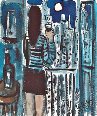 Krzysztof Kokoryn : City view at night : Tempera on paper