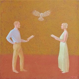 Mikołaj Kasprzyk : A duo with an owl : Oil on Canvas