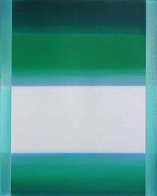 Anna Podlewska : White on grassy greens : Oil on Canvas