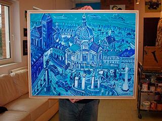 Edward Dwurnik : Blue City : Oil on Canvas