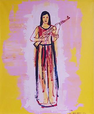 Jacek Łydżba : Girl with a gun : Oil on Canvas