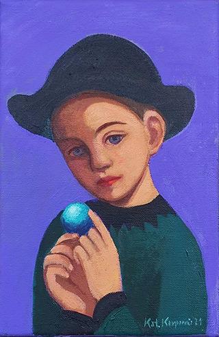 Katarzyna Karpowicz : Blue ball : Oil on Canvas
