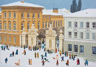 Krzysztof Kokoryn : University gate in winter : Oil on Canvas