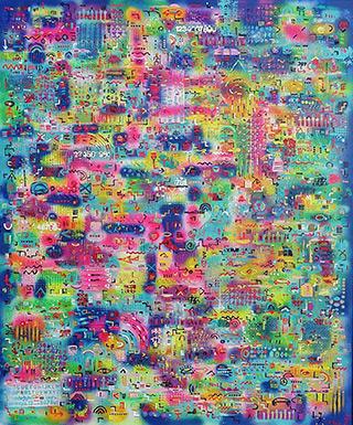 Krzysztof Pająk : DNA codes : Acrylic on canvas