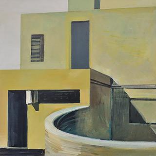 Maria Kiesner : Villa in yellow light : Oil on Canvas