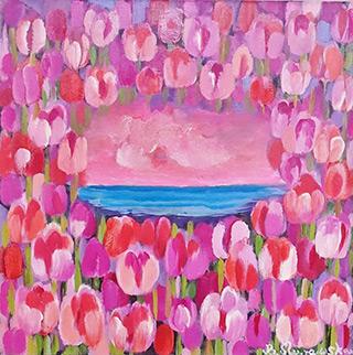 Beata Murawska : Lake among tulips : Oil on Canvas