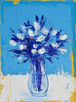 Jacek Łydżba - Flowers in a vase on a blue background