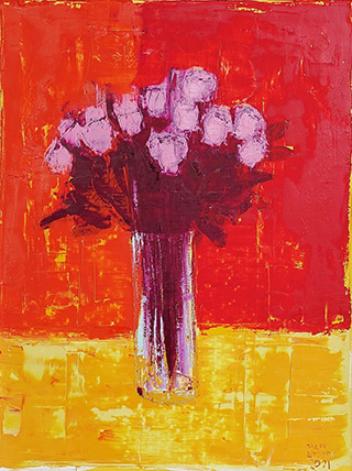 Jacek Łydżba : Flowers in a vase on a red background : Oil on Canvas