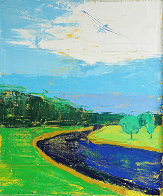 Jacek Łydżba : Glider over the river : Oil on Canvas
