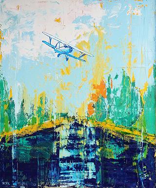 Jacek Łydżba : Plane over the river : Oil on Canvas