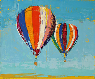 Jacek Łydżba : Two balloons : Oil on Canvas