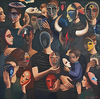 Katarzyna Karpowicz : Men and masks I : Oil on Canvas