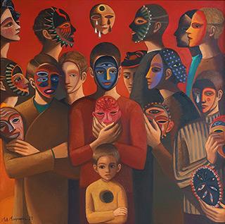 Katarzyna Karpowicz : Men and masks II : Oil on Canvas