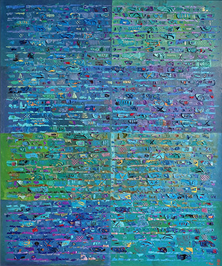 Krzysztof Pająk : Blue DNA codes : Oil on Canvas