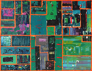 Krzysztof Pająk : DNA codes Green painting : Oil on Canvas
