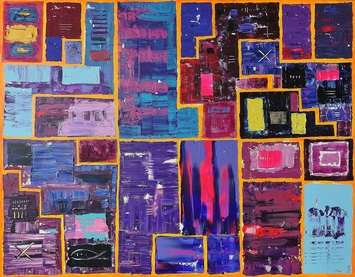 Krzysztof Pająk : DNA codes Purple painting