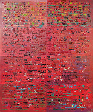 Krzysztof Pająk : Red DNA codes : Oil on Canvas