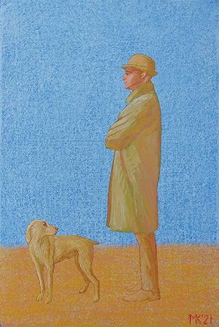 Mikołaj Kasprzyk : Gentleman with a dog : Oil on Canvas
