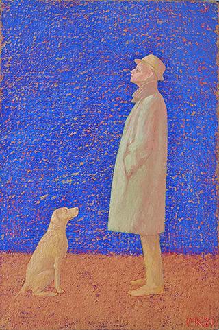 Mikołaj Kasprzyk : With a dog : Oil on Canvas