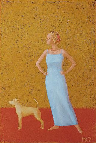 Mikołaj Kasprzyk : Woman with the dog : Oil on Canvas