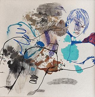 Agnieszka Sandomierz : Two girls : Tempera on canvas
