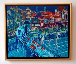 Edward Dwurnik : East-West route : Oil on Canvas