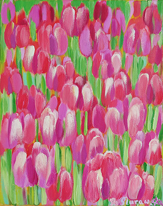 Beata Murawska : Flowers of love : Oil on Canvas